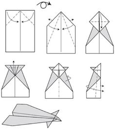 How to make easy paper airplanes that fly far and fast Paper Airplane Steps, Paper Airplane Party, Paper Airplane Folding, Paper Airplanes Instructions, Airplane Painting, Kawaii Diy, Paper Crafts Origami, Oragami, Summer Fun For Kids