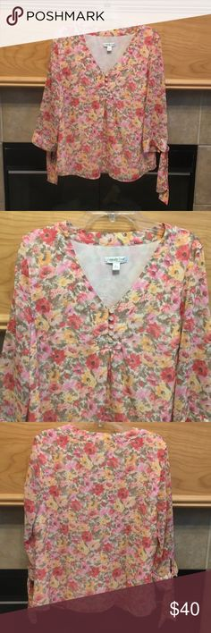 """COLDWATER CREEK PULL-OVER BLOUSE-SIZE LARGE COLDWATER CREEK PULL-OVER BLOUSE SIZE LARGE-TIES AT THE CUFF OF SLEEVES-RICH COLORS OF PINK, RED,YELLOW, SAGE ON WHITE-LINED-100% POLYESTER-ARMHOLE DISTANCE APPROX: 21 1/2""""-LENGTH APPROX: 26"""" Coldwater Creek Tops Blouses"""