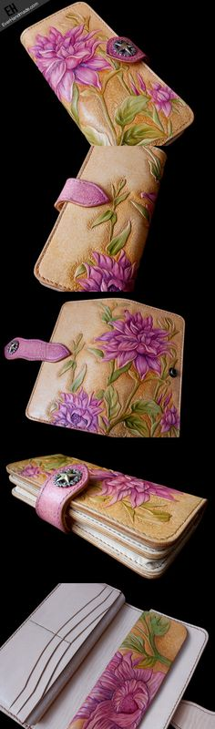 Handcraft vintage hand painting Dahlia pinnata leather long wallet for | EverHandmade