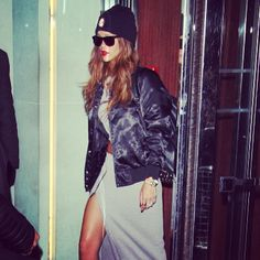 Rihanna wearing spring #rihannaforriverisland phresh out the #LFW runway