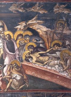 The Descent from the Cross. Fresco. 1312. Vatopedi monastery, Mt Athos, Greece. A masterpiece of byzantine painting.