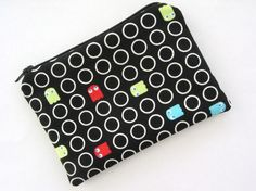 Ghost Geo on Black Small Zipper Pouch by tacdesigns on Etsy