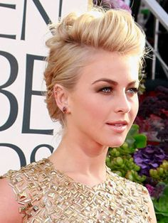 "We were obsessed with our <a title=""julianne"" href=""http://www.cosmopolitan.com/celebrity/exclusive/julianne-hough-february-cover"">cover girl's</a> hair at the Globes. ""It was sheek, edgy, and sophisticated,"" said hairstylist—and genius behind the 'do—Riawna Capri.<br /><br />To steal Julianne's style, which was inspired by Pinterest, follow these steps:<br /><br />On damp hair, apply Unite 7Seconds Conditioner, $26, <a title=""7 seconds""…"