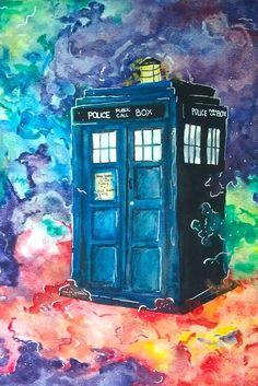 Beautiful Doctor Who watercolour Doctor Who Fan Art, Doctor Who Tardis, Tardis Painting, Doctor Who Convention, Tardis Art, Doctor Who Tattoos, Police, Disney Fan Art, Diy Wall Art