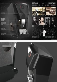 Coffee machine design concept focusing on the emotional relation between user, product and environment. Coffee Machine Design, Product Design, Environment, Concept, Merchandise Designs