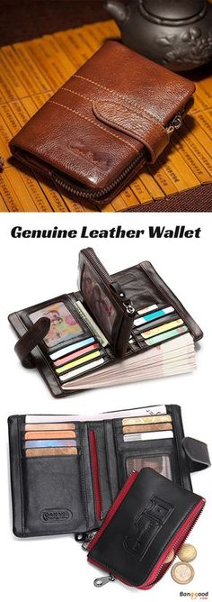 YEX Mens Vintage Genuine Cowhide Leather Large Capacity Card Holders Tan Brown Wallet Stylish