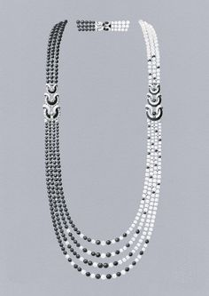 Cheval des Mers long necklace: White cultured pearls, chalcedonies, sapphires, onyx, diamonds. © Van Cleef & Arpels