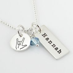 Name Tag Necklace with Design Charm - hand stamped and personalized name tag necklace - simple name necklace ($65.00)