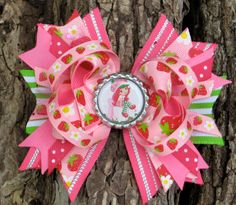 Strawberry Shortcake Hair Bow Boutique Style Bottle Cap Hair Bow Strawberry Infant Toddler Girl. $8.49, via Etsy.