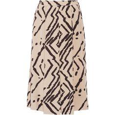 By Malene Birger Venisia printed silk crepe de chine midi skirt ($430) ❤ liked on Polyvore featuring skirts, neutrals, print skirt, elastic waist skirt, print midi skirt, pull on skirt and silk pleated skirt