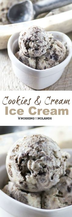 Cookies and Cream Ice Cream by Noshing With The Nolands - Kids young and old will simply love the creamy, crunchy flavor of this decadent homemade ice cream!