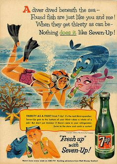 7up print ad with fish illustrations 1958