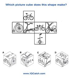 IQ Puzzle #20 - Cube Which picture cube does this shape make? www.IQCatch.com