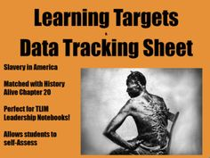 Learning Targets and Data Tracking Sheet for Slavery Unit
