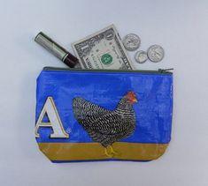 Upcycled Eco Friendly Chicken Feed Bag wallet or change purse by bgreenbuyused #BGreenBuyUsed
