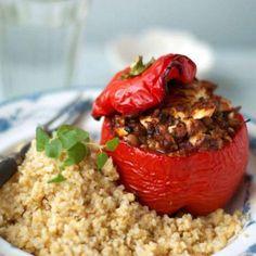 Fylld paprika med linser, spenat och fetaost - Mitt Kök