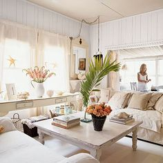 Shabby-Chic Living Room Lacy curtains, fresh florals, and plenty of monogrammed pillows are just a few of the feminine touches that give this room its calming and sweet mood Cottage Living Rooms, Coastal Living Rooms, Shabby Chic Living Room, My Living Room, Shabby Chic Decor, Living Spaces, Coastal Cottage, Coastal Style, Coastal Decor
