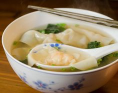 Homemade Wonton Soup - with shrimp and only 200 calories!