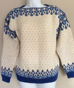 Vintage DALE of Norway Wool Norweigian Boat Neck Fair Isle Pull-Over Ski Sweater Blue Cream Medium