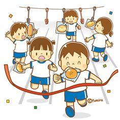 パン食い競走をする子どもたちのイラスト(ソフト)
