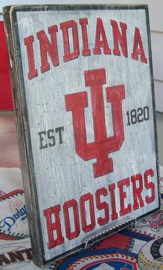 Indiana Hoosiers wall sign distressed by Bobsvintagesigns on Etsy, $23.50