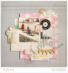 Looking for that Vintage Summer Feel? Check out this layout on our Blog! Designed by Lisa Dickinson. #cratepaper