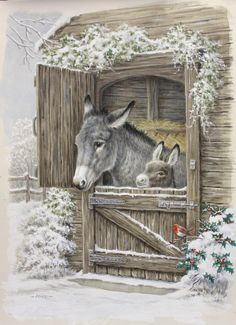 20 super Ideas for vintage christmas decorations ideas sweets Christmas Scenes, Christmas Animals, Christmas Pictures, Christmas Art, Winter Christmas, Christmas Decorations, Christmas Donkey, Hirsch Illustration, Illustration Art