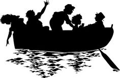 VintageFeedsacks: Free Vintage Clip Art - Vintage Silhouettes  In the Rowboat