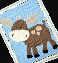 Crochet Patterns Moose Baby Afghan Graph Pattern Easy   eBay