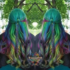 Just found this shot I never posted of my rainbow mermaid with a Fishtail braid @manicpanicnyc #manicpanic @arcticfoxhaircolor #arcticfoxhaircolor #mermaidhair #mermadians #behindthechair #modernsalon #beautylaunchpad #hotonbeauty #mermaidhair #mermadians #hairbykaseyoh #fantasyhair #hairporn #dyeddollies #dollswithdye #rainbow #rainbowhair #curls #scissorsalute #imavisualartist #dyeddollies #dollswithdye