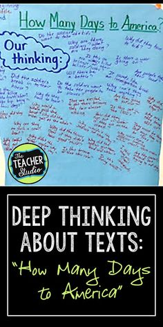 "Teaching students how to think critically and read with deep comprehnsion is tricky. This blog post shares strategies for students to track their thinking, improve reading comprehension, and use text evidence to prove their ideas. Uses the book ""How Many Days to America"" by Eve Bunting"