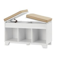White Storage Bench Entryway Mudroom Organizer Wood Hallway Bedroom Furniture  #RealSimple
