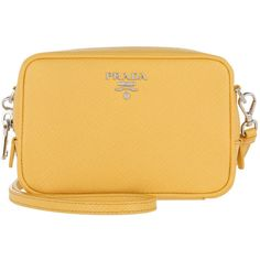 Prada Shoulder Bag - Contenitore Tracolla Saffiano Sole 1 - in yellow... (£495) ❤ liked on Polyvore featuring bags, handbags, shoulder bags, yellow, zip tote bag, yellow shoulder bag, yellow tote bag, yellow handbags and tote purses