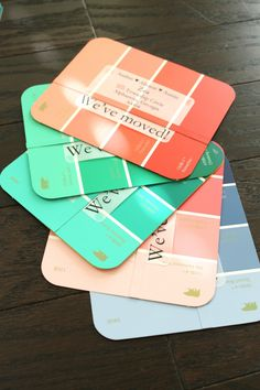 DIY Paint Chip Address Cards- For when you move! I would also do these for grad announcements