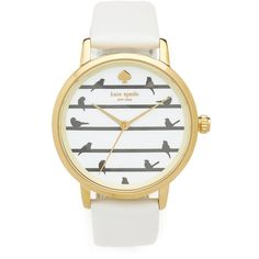 Kate Spade New York Metro Watch ($195) ❤ liked on Polyvore featuring jewelry, watches, dial watches, leather band watches, kate spade, kate spade jewelry and bird jewelry