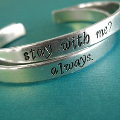 Hunger Games Bracelets - Katniss and Peeta - Set of 2: Stay with me -... ($26) ❤ liked on Polyvore
