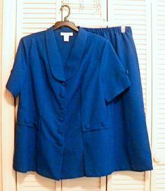 Mfg Label: Roaman`s. Blouse And Skirt, Skirt Suit, Short Sleeve Blouse, Short Sleeves, Duster Jacket, Royal Blue, Ss, Career, Capri Pants