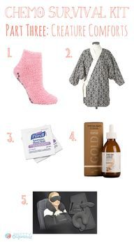 Awesome series on chemo survival kit. Some good items for expectant moms too.