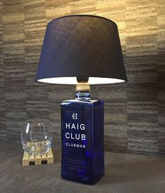 Beautiful Haig Club Whisky Bottle Lamp With Navy Shade Upcycled cl
