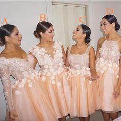 Coral Bridesmaid Dresses Short Summer Wedding Guest Dress for Party Appliques Backless Bridesmaid Gowns Vestido De Festa Curto