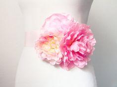 Bridal Couture - Pink Blush Flowers Sash Belt
