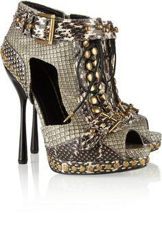 Alexander McQueen ~ Cutout Snakeskin Ankle Boots