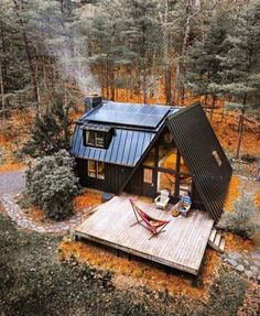 future house architecture A-Frame Cabin receives an A Makeover - Wood Design A Frame Cabin, A Frame House, Tiny House Cabin, Cabin Homes, Small Log Cabin, Cozy Homes, Cottage Homes, Cabin Design, Tiny House Design
