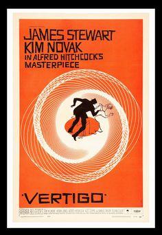 Retro Film Poster - Vertigo by Alfred Hitchcock Alfred Hitchcock, detective, film, retro, thriller, vertigo