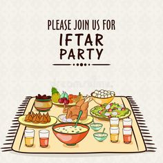 Photo about Beautiful invitation card design with delicious foods for Iftar Party celebration. Illustration of chicken, flyer, foods - 52415218