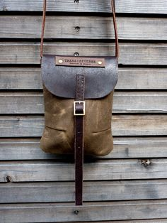 Waxed canvas day bag/small messenger bag with waxed brown leather strap
