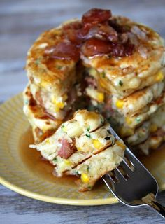 These Griddle Cakes are pancakes with added bacon, corn and cheese- topped with maple syrup. It's a unique & delicious breakfast recipe. Photographs included.