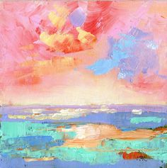 Pink sky over the sea. Original abstract oil painting. #oil painting #abstract art #seascape painting.
