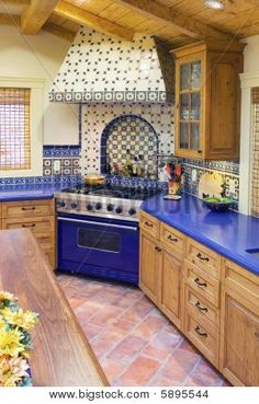 Spanish Style Kitchen new mexico territorial style kitchen design ideas, pictures