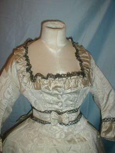 Antique Dress 1860 Mint Green Silk Moire Museum De-Accessioned